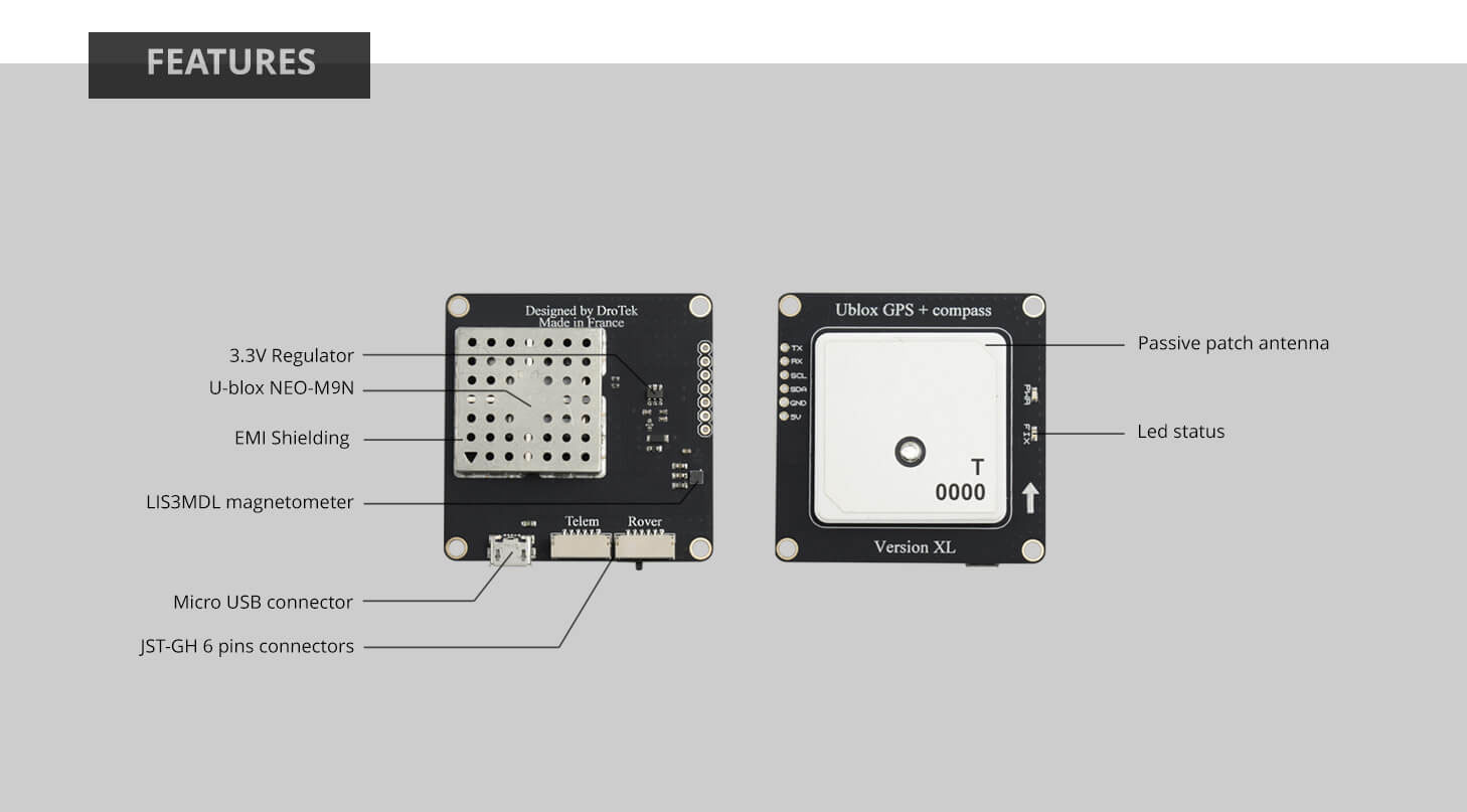 DP0106 (NEO-M8N GNSS + LIS3MDL compass) provides best performance at low power consumption levels and easier RF integration. The future-proof NEO-M8N includes an internal Flash that allows future firmware updates. This makes NEO-M8N perfectly suited to industrial and automotive applications.
