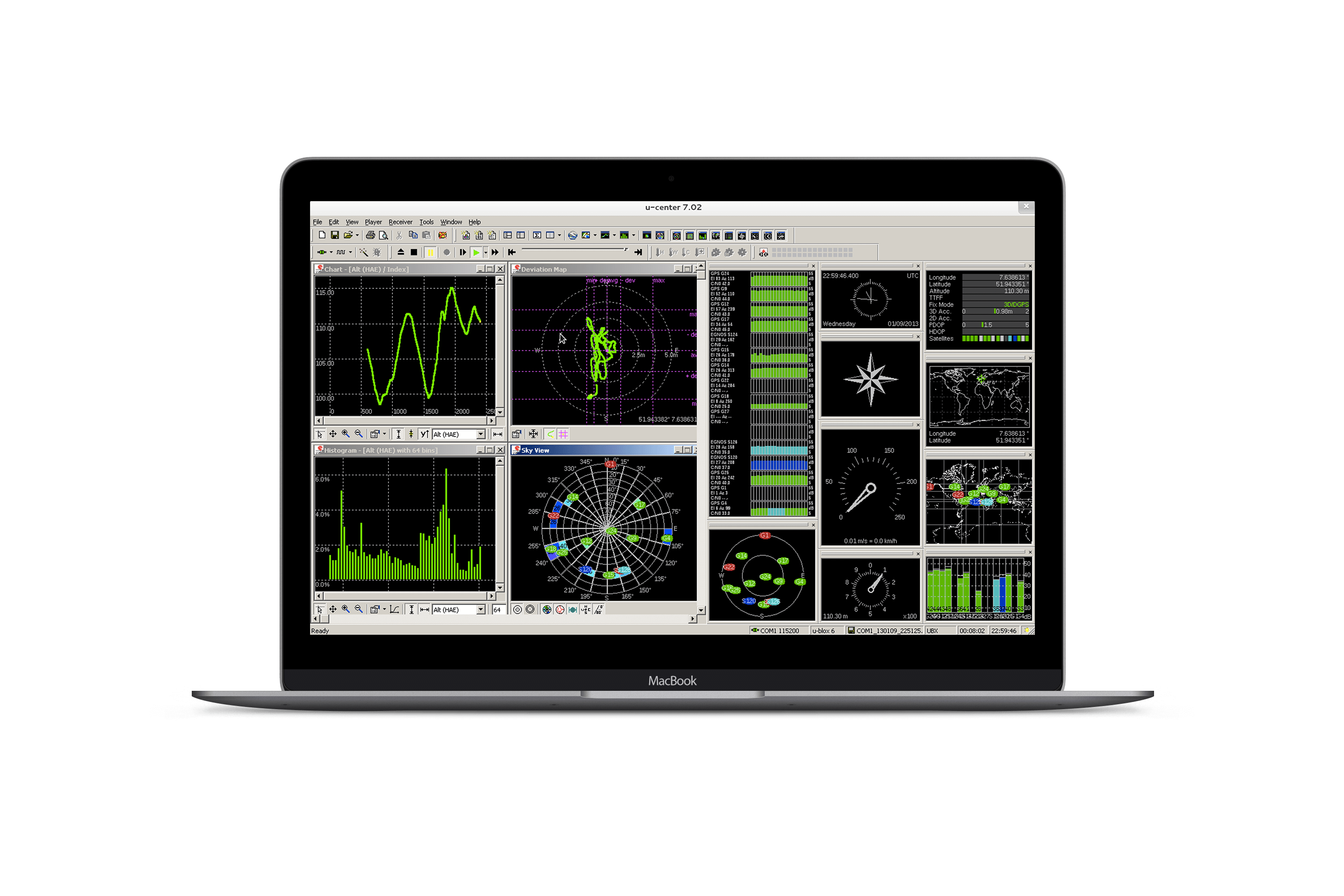 A powerful platform for product evaluation, configuration, testing  and realtime performance visualization of u-blox GNSS receiver products.
